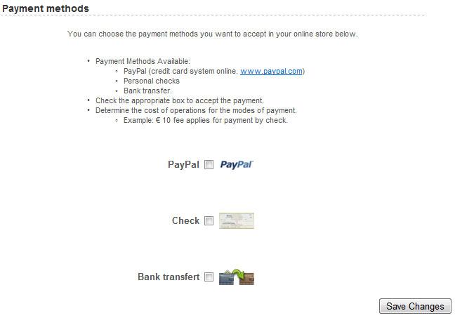 Managing : Payment method